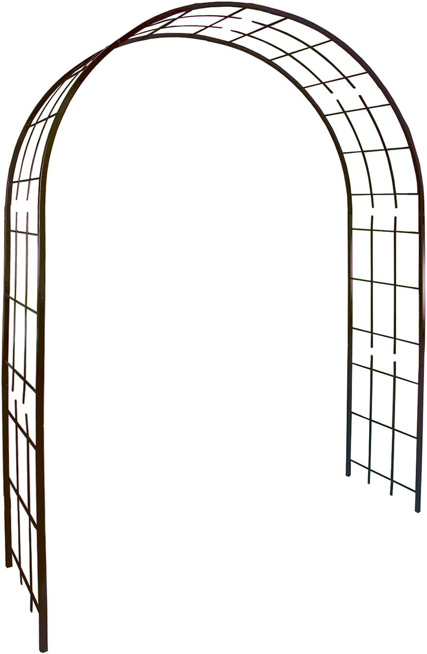 Louis Moulin Arco Diseño Enrejado, Hierro Envejecido, Marrón Chocolate, 180x50x250 cm, 3006
