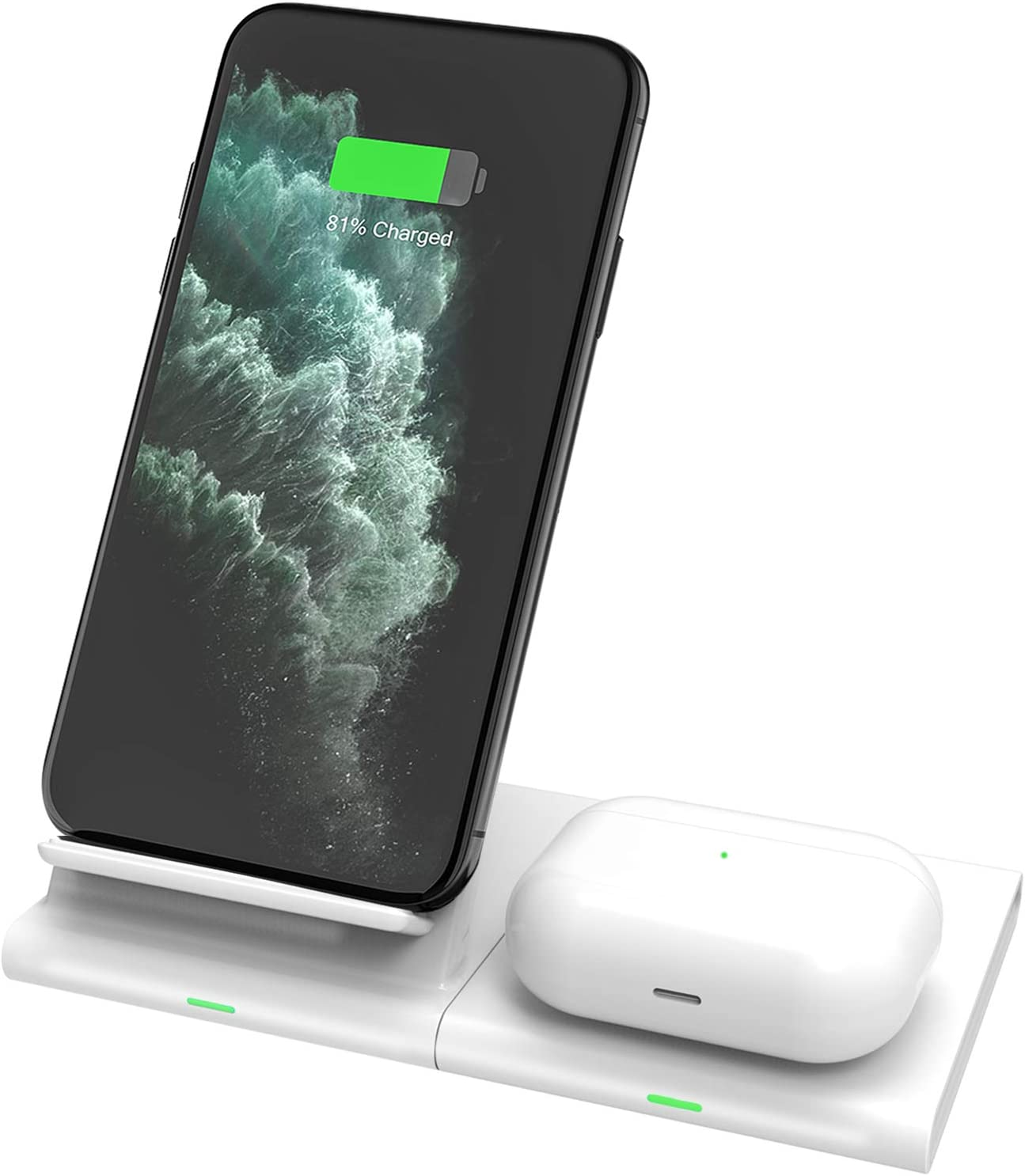 Hoidokly Cargador Inalámbrico Rápido Qi Fast Wireless Charger 7.5W Compatible con iPhone 11/11 Pro Max/X/XR/XS/8/8 Plus, 10W Carga para Galaxy Z Flip/S20/S20+/S10/S10+/S10e/S9/S8/S7/Note 10/10+/9/8