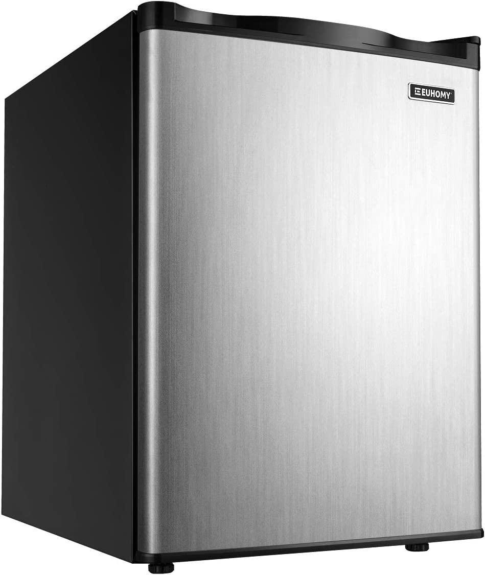 Euhomy Upright freezer, Energy Star 2.1 Cubic Feet,Compact Single Door mini freezer with Reversible Door,Adjustable Removable Shelves ,Freezer for Basement/Home/Apartment/Office (Silver)