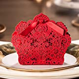 Wedding Favor Candy Gift Boxes,Laser Cut Lace Hollow Black Candy Box with Ribbon for Party Event Supplies (red)