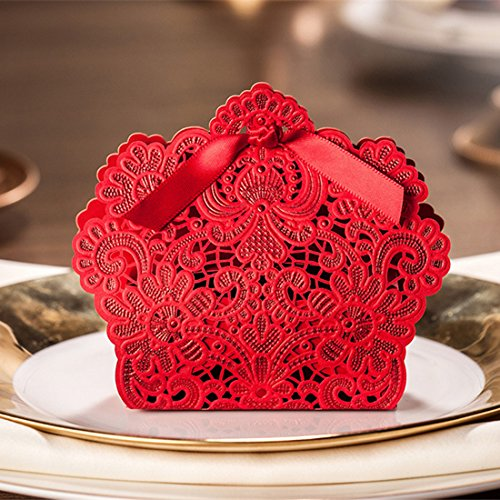 (50 Pcs Laser Cut Wedding Gift Bags With Ribbon Wedding Party Favor, Chocolate Candy Gift Boxes (Red))