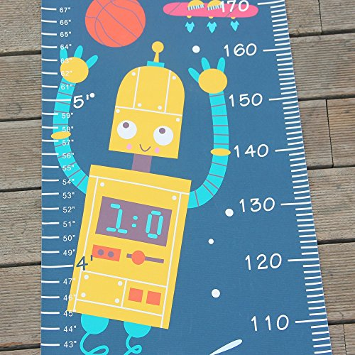 Panda_mall Baby Height Growth Chart Ruler Kids Roll-up Canvas Height Chart Removable Wall Hanging Measurement Chart Wall Decoration with Wood Frame for Boys Girls Kids Room(Robot) by Panda_mall (Image #5)