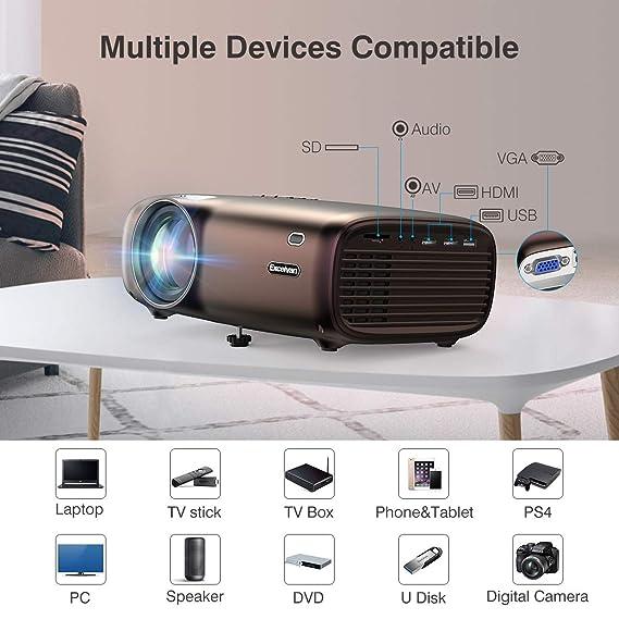 Proyector Excelvan, 1080P Proyector 4000 lúmenes Proyector Mini HD ...
