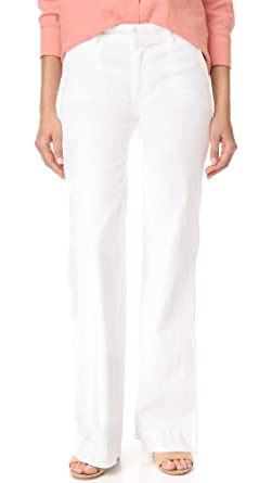 b0c4fa7abc19 Amazon.com: Hudson Women's Joplin Wide Leg Trouser Jeans, White, 31 ...