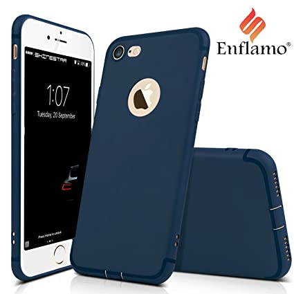 buy online 3294f b75d5 Enflamo Bumper Protective Soft Silicone Slim Back Cover Case for Apple  iPhone 7 (Plain Blue)