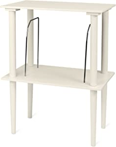 Victrola Wooden Stand for Wooden Music Centers with Record Holder Shelf, White
