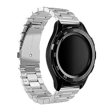 Huawei Watch 2 Reloj Banda, Dokpav® Reemplazo Pulsera de Acero inoxidable Correa de Reloj Inteligente con Tres Perlas Hebilla Diseño para Huawei Watch 2 ...