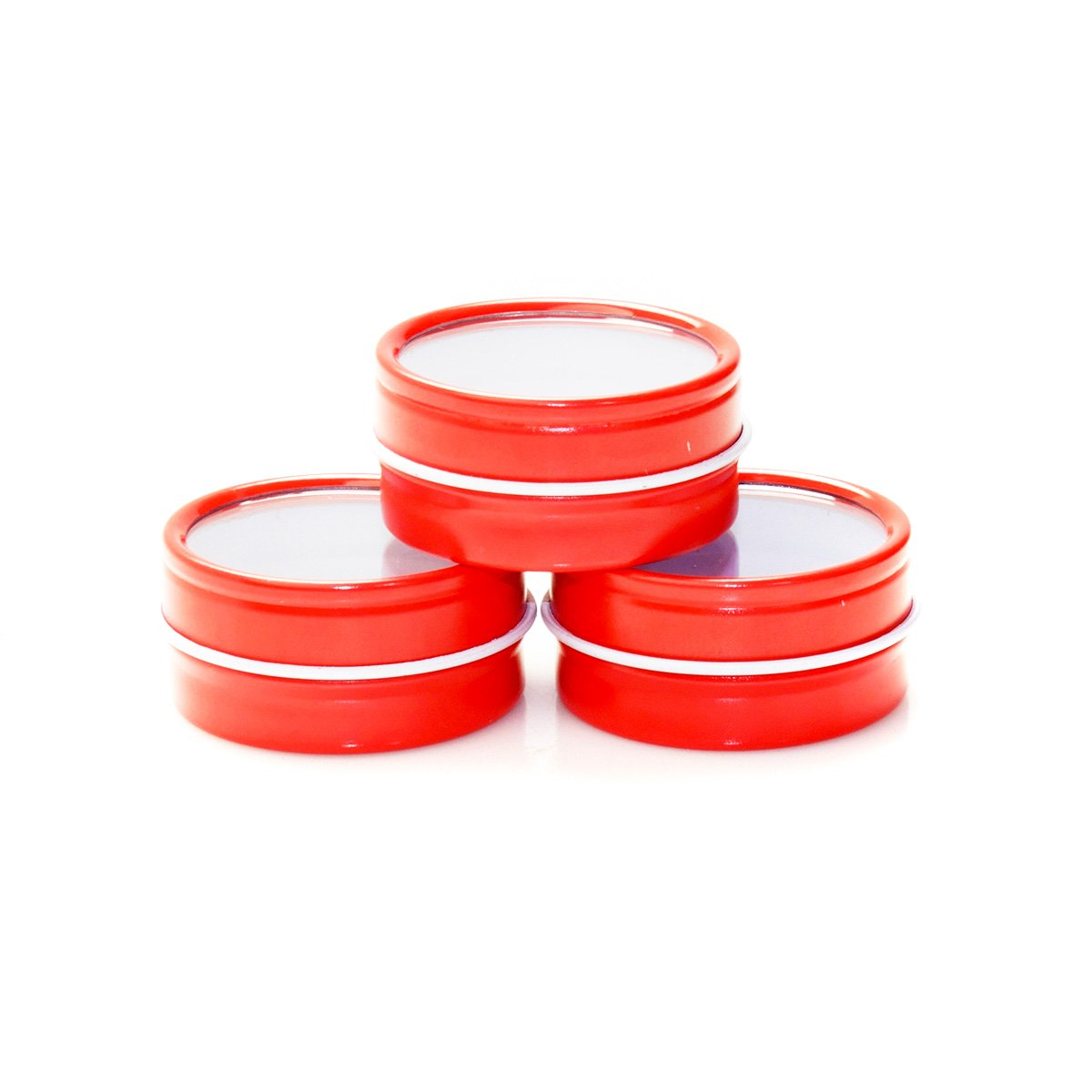 Mimi Pack 1/2 oz Shallow Window Top Slip Lid Tins For Salves, Favors, Spices, Balms, Candles, Gifts Limited Run Series 24 Pack (Red)