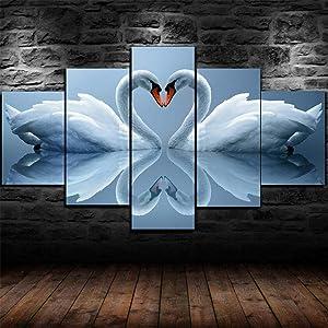 RMKXPA Print On Canvas Simple Life Painting Swans Love Heart Romantic Poster,Canvas Print Printing Framed Home Decor Wall Art 5Pcs Wooden Artwork (150X80 cm)