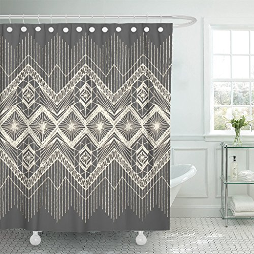 (VaryHome Shower Curtain Brocade Floral with Fringe Border Knitted Woven Macrame in Boho Style Silk Linen Waterproof Polyester Fabric 72 x 72 inches Set with Hooks)