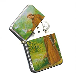 St Francis Animal Savior Silver Chrome Pocket Lighter by Elements of Space
