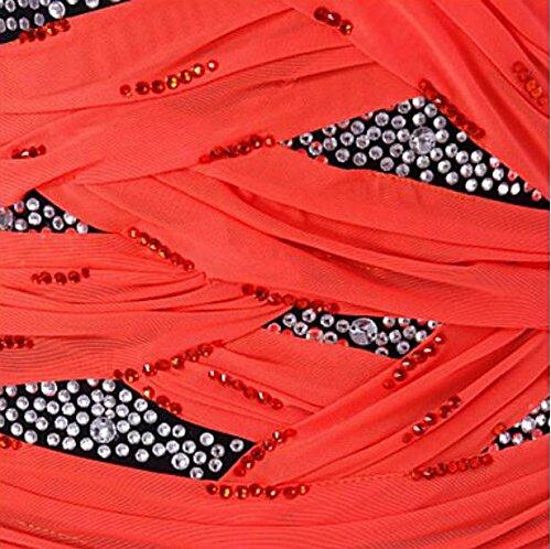 Largas Naranja Color Patinaje Diseño De Con Niña Zhangminzl Para Vestido Mangas Clásico Y Mujer qaZOU1Pnwg