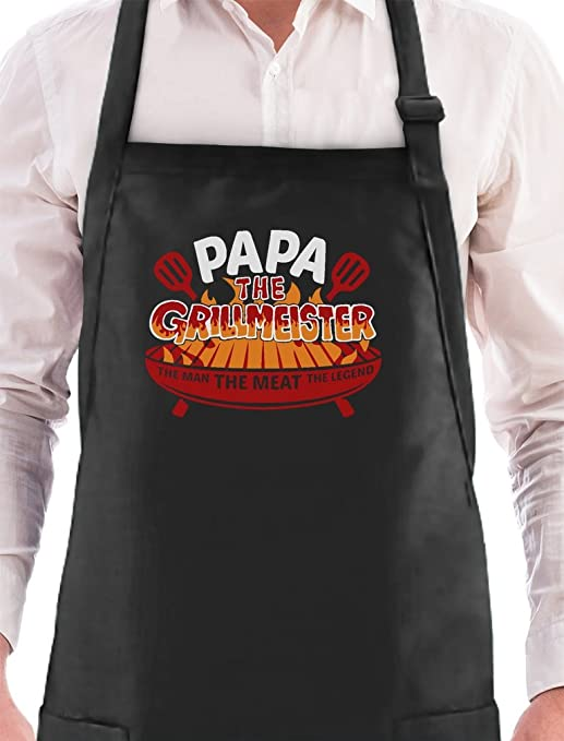 "FUNNY NOVELTY CHEF APRON /"" GRANDAD IS GRILL BLACK IDEAL Gift Dad `S Fathers Day"