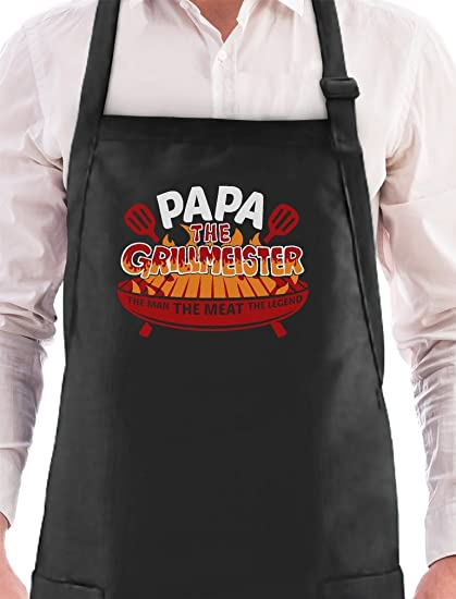 0b9d863d Amazon.com: Papa The Grillmeister The Man The Legend Griller Christmas Gift  for Dad/Grandpa BBQ Chef Apron One Size Black: Kitchen & Dining