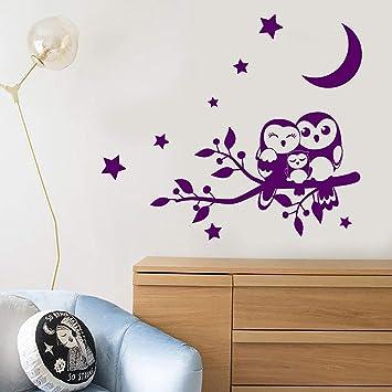 Familia de dibujos animados Owl On Branch Stars Night Birds Vinilo ...