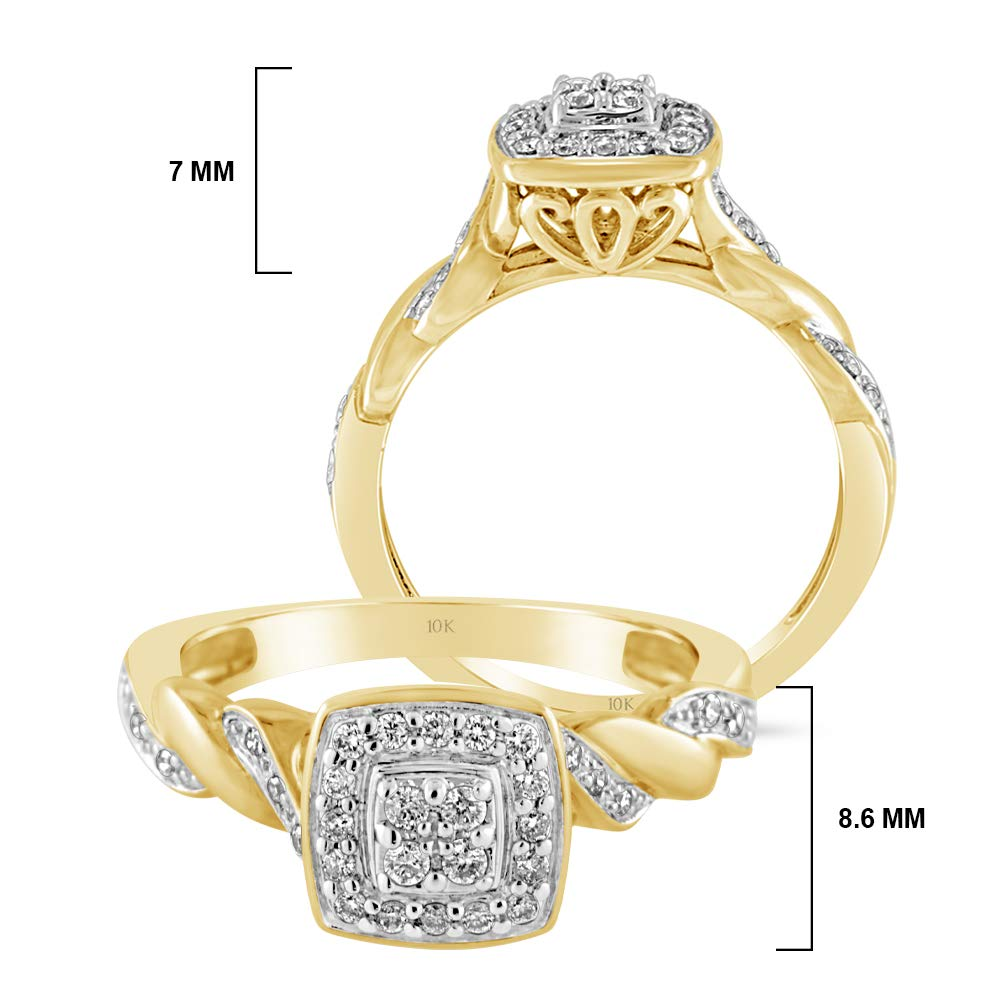 Brilliant Expressions 10K Yellow Gold 1/5 Cttw Conflict Free Diamond Cushion Cluster Halo and Twisted Shank Engagement Ring (I-J Color, I2-I3 Clarity), Size 8 by Brilliant Expressions (Image #5)