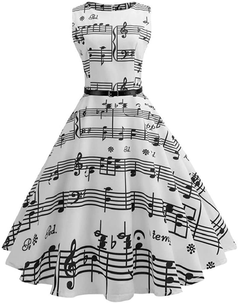 Vintage 1950S Cocktail Dresses for Women Sleeveless Musical Note Pattern Swing Dress