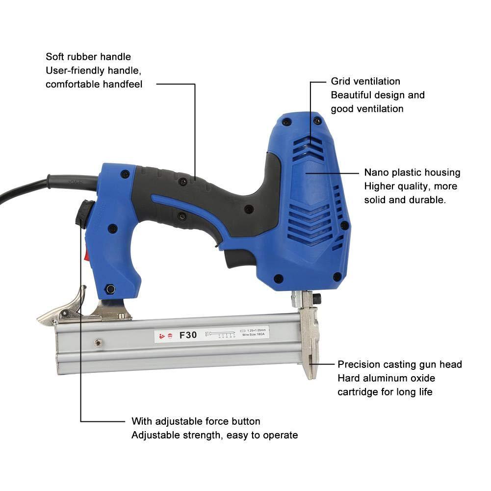 F30 M/áquina de clavos el/éctrica para trabajo pesado Clavadoras rectas Herramienta de grapadora para carpinter/ía Enchufe de la UE 220V M/áquina de clavos el/éctrica