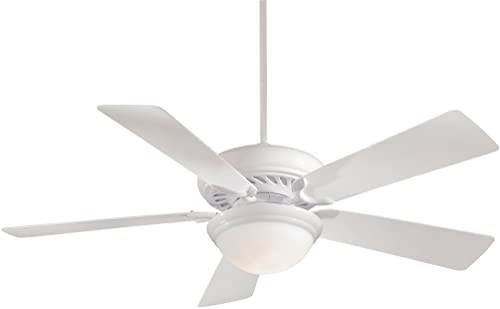 Minka-Aire F569-WH Downrod Mount, 5 White Blades Ceiling fan with 100 watts light, White