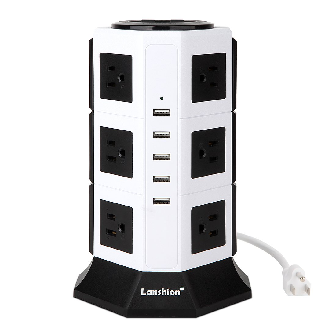 Power Strip Lanshion 12 Outlet Surge Protector with 5 USB Charging Ports 1875W Desktop USB Charging Station with 6.5-Feet Long Power Cord, 1000 Joules, UL Listed