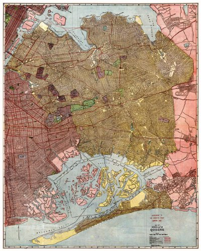 MAP of the New York Borough of Queens in 1923 - measures 24