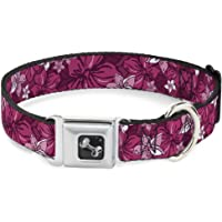 "Buckle-Down Seatbelt Buckle Dog Collar - Hibiscus Collage Pink Shades - 1.5"" Wide - Fits 16-23"" Neck - Medium"