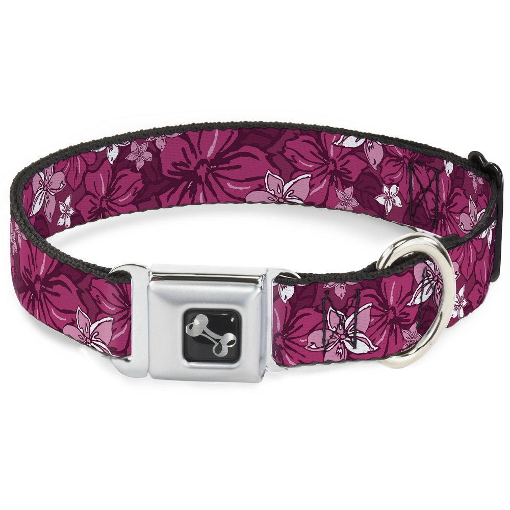 Hibiscus Collage Pink Shades 1\ Hibiscus Collage Pink Shades 1\ Buckle-Down Seatbelt Buckle Dog Collar Hibiscus Collage Pink Shades 1  Wide Fits 15-26  Neck Large