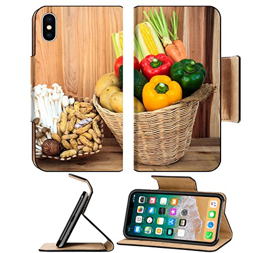 MSD Premium Apple iPhone X Flip Pu Leather Wallet Case healthy organic vegetables and fruit still life art design IMAGE ()