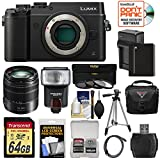 Panasonic Lumix DMC-GX8 4K Wi-Fi Digital Camera Body (Black) with 14-140mm Power OIS Lens + 64GB Card + Battery & Charger + Case + Flash + Tripod Kit