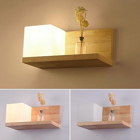 Elinkume Lampe Murale En Bois Applique Murale Style Simpe Pour Chevet Salon Escalier Couloir E27 Base Wall Lamp B