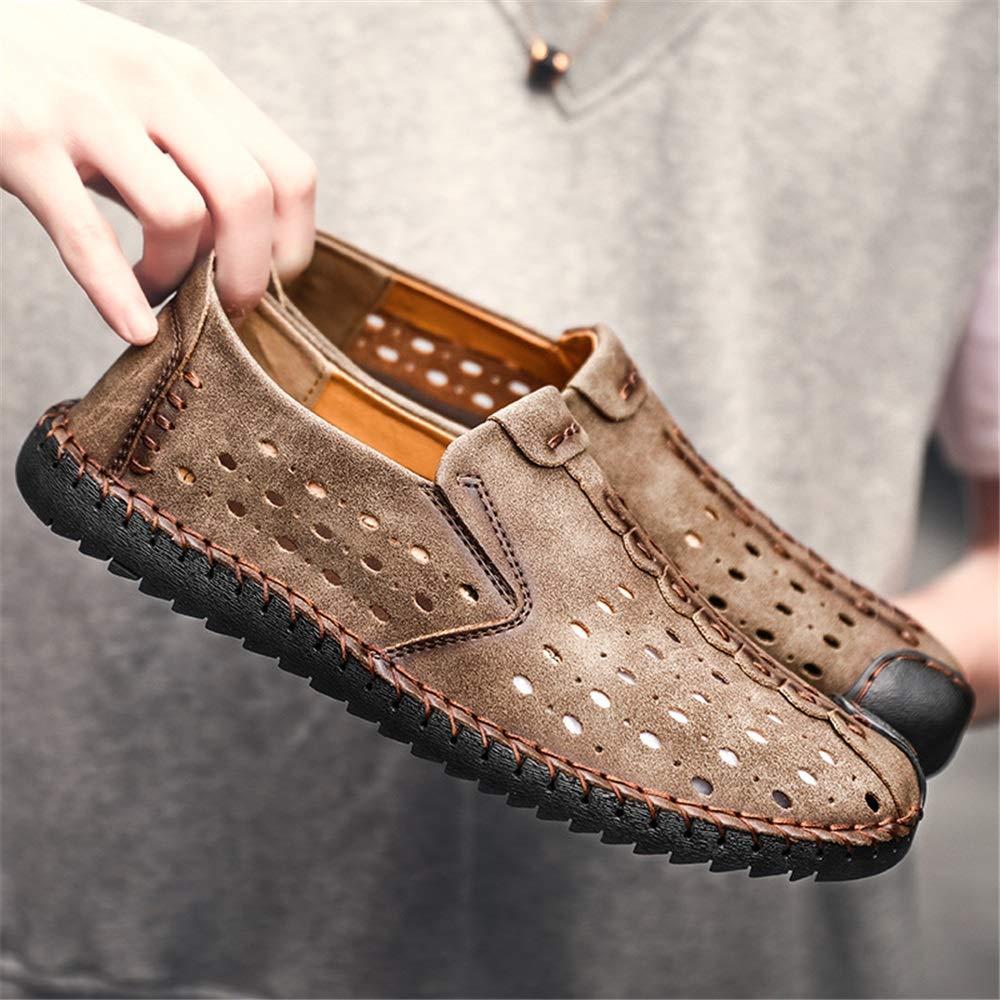 Qiusa Aushöhlen Light Schuhe für Männer Bequeme weiche Sohle (Farbe Slip auf große Loafers (Farbe Sohle : Khaki, Größe : EU 46) Khaki 1d0a08
