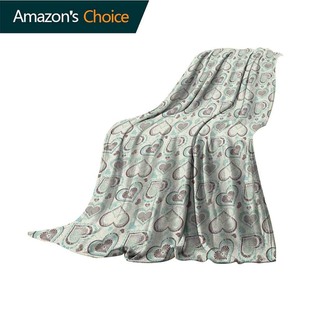 Hearts Puppy Blanket,Symbols of Love with Pastel Colors Wedding and Engagement Inspirations for Bed & Couch Sofa Easy Care,50'' Wx60 L Taupe Pale Blue Beige