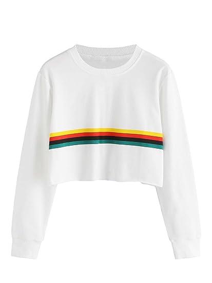 30ee345b19fd72 MAKEMECHIC Women's Striped Colorblock Rainbow Sweatshirt Crop Hoodie Top  White XS