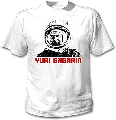 teesquare1st Gagarin Yuri Camiseta Blanca para Hombre de Algodon: Amazon.es: Ropa y accesorios