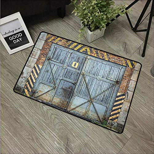 HRoomDecor Industrial,Doormat Old Wooden Factory Gate with Warning Signs Industrial Change Modern Techno Theme W 20