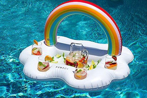 FUNBOY Giant Inflatable Rainbow Cloud Floating Bar Pool Float