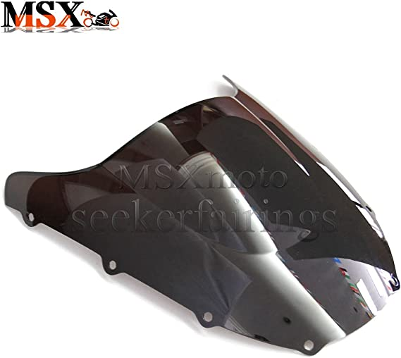 MSXmoto Windshield Windscreen Double Bubble Kawasaki ZX636R 2003 2004 ZX6R 03 04 Black