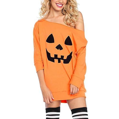 Zhhlaixing Moda per le donne New Arrival Oblique Collar Loose Halloween Pumpkin Shirts Dress High Waist Tops Christmas Gifts for Women