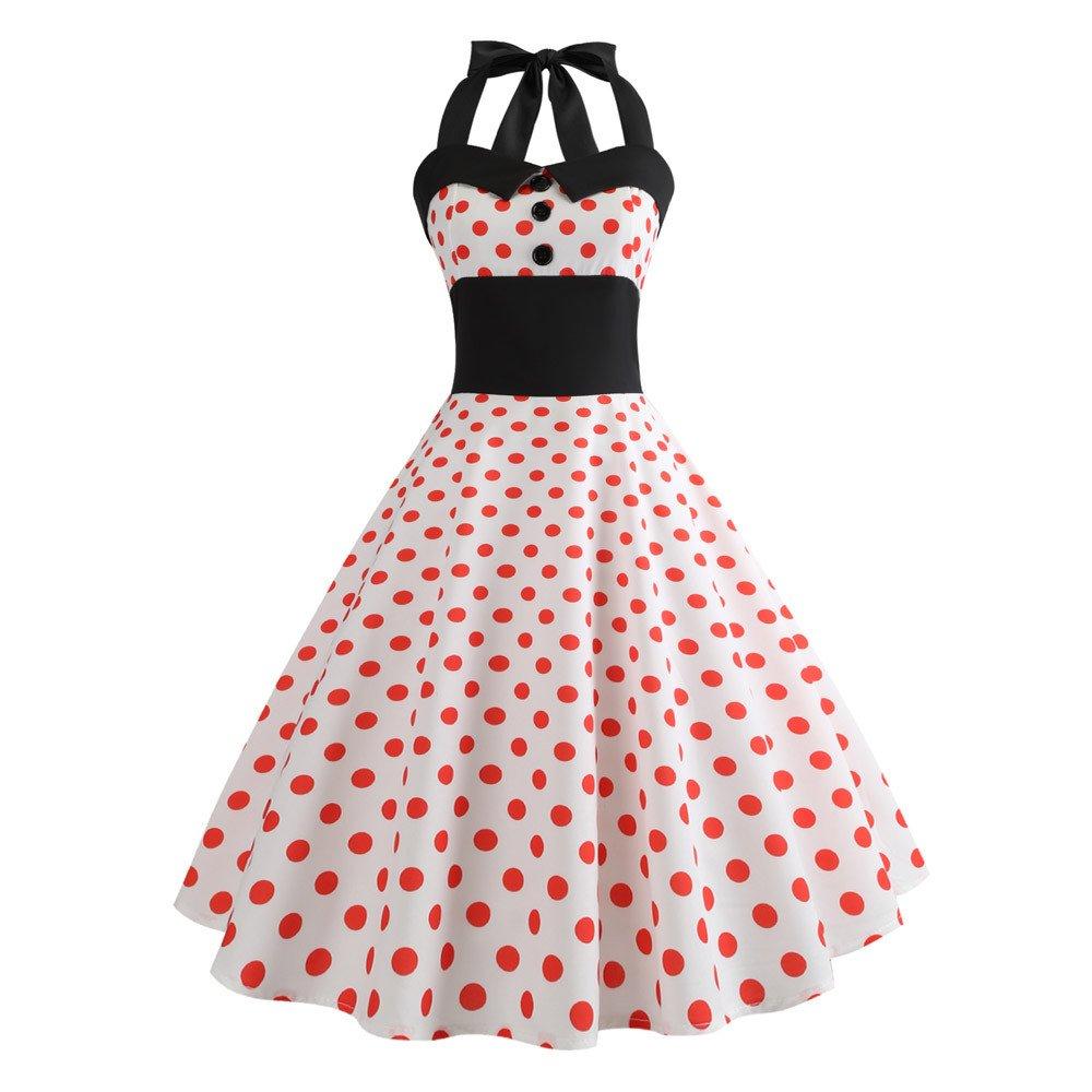 iLUGU Halter Collar Sleeveless Knee-Length Dress For Women Dot Print Waist A-Line Summer Dresses For Women