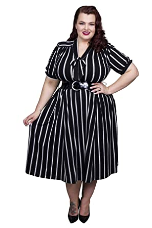 c04f45e2c97 Scarlett   Jo Pussy Bow Stripe Dress Sizes 10-32 Black