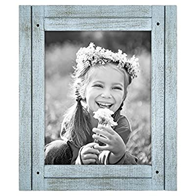 "Americanflat Picture Frame in Robin Blue Textured Wood and Polished Glass for Wall and Tabletop - 8"" x 10"" - Design: Robin blue distressed 8x10 inch frame, perfect for your cherished memories, family portrait and vacation photos; comes with hanging hardware for hassle-free display in both horizontal and vertical formats to hang flat against the wall; includes an easel stand for tabletop or desktop display in portrait orientation Material: Textured wood frame with a polished glass front that gives a clear view of your picture and preserves your photographs, cards and memories; the wood on the face of the frame is hand painted to give it a rustic feel Quality: Durable, rustic frame; the frame's front has clear glass and a sturdy backboard to keep the photo in place - picture-frames, bedroom-decor, bedroom - 61wZCHJOFUL. SS400  -"