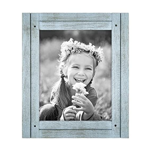 Americanflat 8x10 Robin Blue Distressed Wood Frame - Made to Display 8x10 Photos - Ready to Hang or Stand with Built-in Easel - Design: Robin blue distressed 8x10 inch frame, perfect for your cherished memories, family portrait and vacation photos; comes with hanging hardware for hassle-free display in both horizontal and vertical formats to hang flat against the wall; includes an easel stand for tabletop or desktop display in portrait orientation Material: Textured wood frame with a polished glass front that gives a clear view of your picture and preserves your photographs, cards and memories; the wood on the face of the frame is hand painted to give it a rustic feel Quality: Durable, rustic frame; the frame's front has clear glass and a sturdy backboard to keep the photo in place - picture-frames, bedroom-decor, bedroom - 61wZCHJOFUL. SS570  -