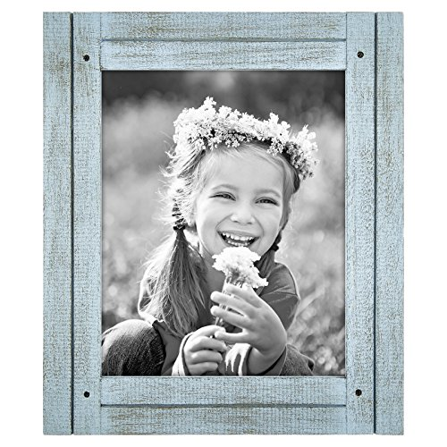Americanflat 8x10 Robin Blue Distressed Wood Frame - Made to Display 8x10 Photos - Ready To Hang or Stand With Built-In Easel