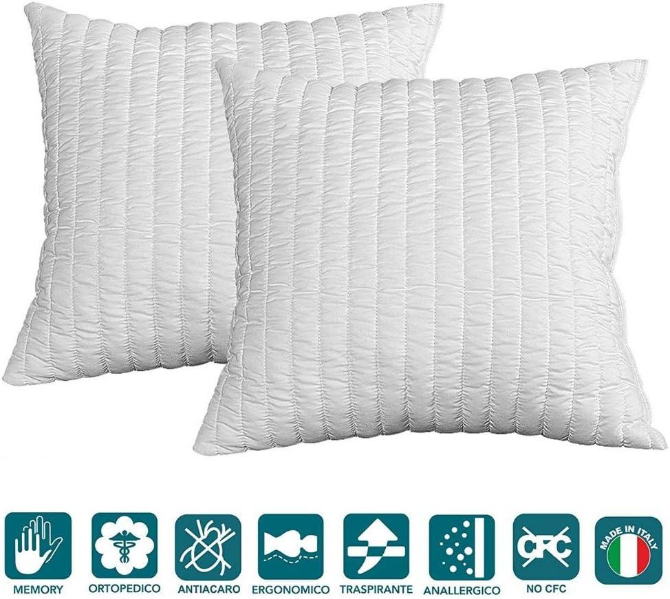 Evergreenweb - Pack de 2 almohadas 60x60 viscoelásticas de copos altos 15 cm Perfecta adaptabilidad al cuello transpirable, antialérgico, para dolores cervicales para a todos los colchones