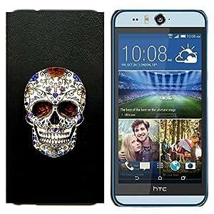 YiPhone /// Prima de resorte delgada de la cubierta del caso de Shell Armor - Cráneo Cruz Christian Death Bling motorista - HTC Desire Eye M910x