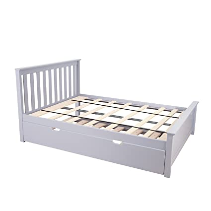 Amazoncom Max Lily Solid Wood Full Size Bed With Trundle Bed