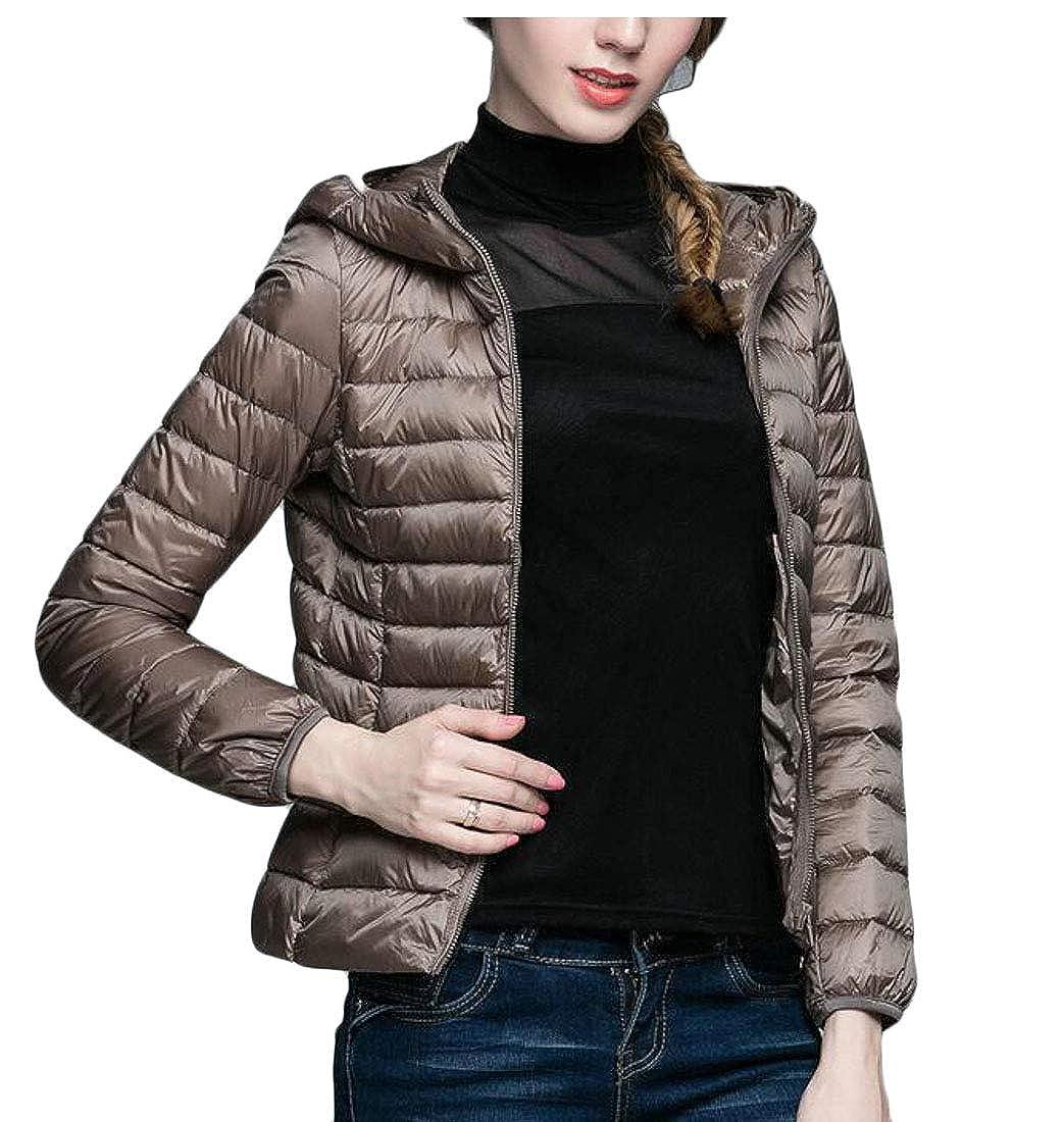 Pandapang Womens Slim Fit Zip Lightweight Puffer Winter Packable Hooded Down Jacket