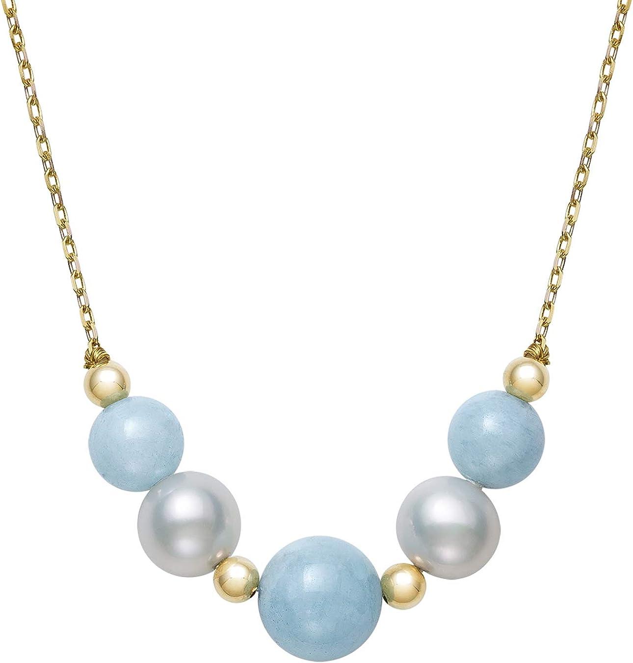 SALE,Mixed Cultured Pearl Aquamarine Necklace,Delicate Feminine Long Strand Layering Pearl and Aquamarine Gemstone Necklace,Designer Pearls,