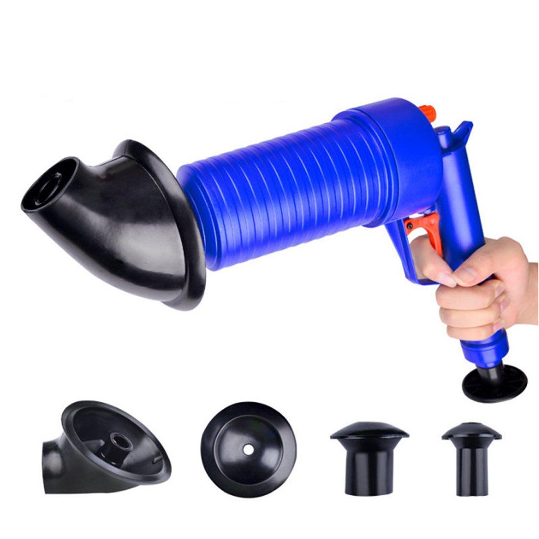 High Pressure Air Power Drain Blaster gun,PERTTY Cleaner Unclogs Toilet Pump Hand Powered Plunger Set for Bath Toilets, Bathroom, Shower, kitchen Clogged Pipe Bathtub(Blue) by PERTTY (Image #3)