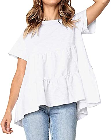Dorical Camiseta Mujer Blusa dCuello redondo casual de las mujeres con volantes color sólido camiseta superior Mangas Cortas para Tops Blusa t Shirt Camisa de manga corta con cuello en O: Amazon.es: